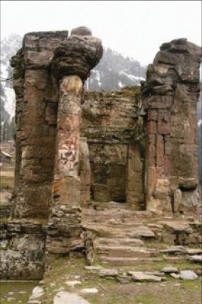 Sharda Temple in ruins at Sardi (PoK)