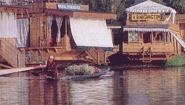 Houseboats line Dal lake's banks.