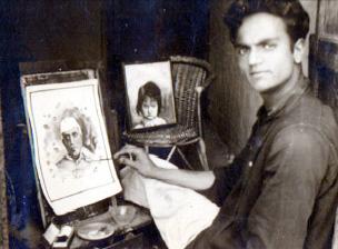 Suraj Tiku in his studio making a portrait of Pt. Jawahar Lal Nehru